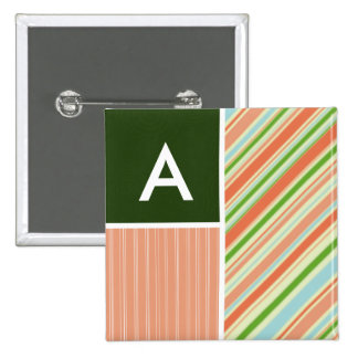 Peach Forest Green Stripes Striped Pin