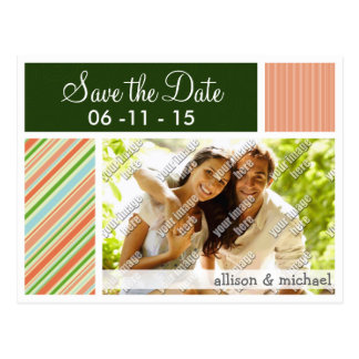Peach & Forest Green Stripes; Striped Postcard
