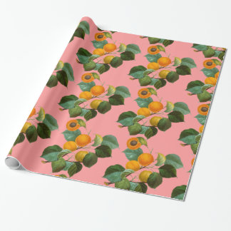 Peach Fruit and Pink Wrapping Paper