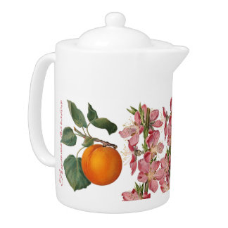 Peach Fruit & Blossom Teapot (You can customize)