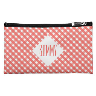 Peach Gingham Makeup Bag