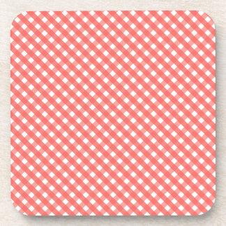 Peach Gingham Pattern Coaster