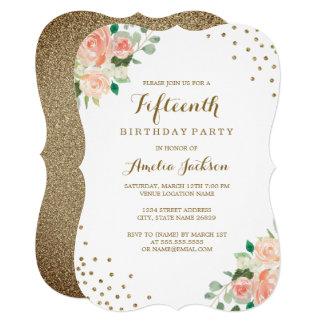 Peach Gold Floral Confetti 15th Birthday Party Card
