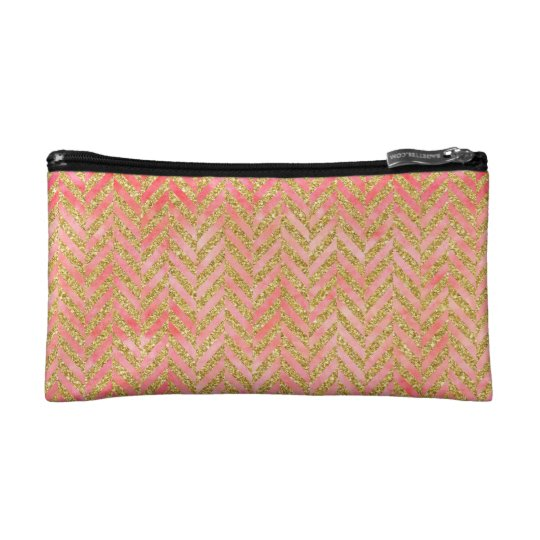 Peach & Gold Glitter Watercolor Herringbone Makeup Bag