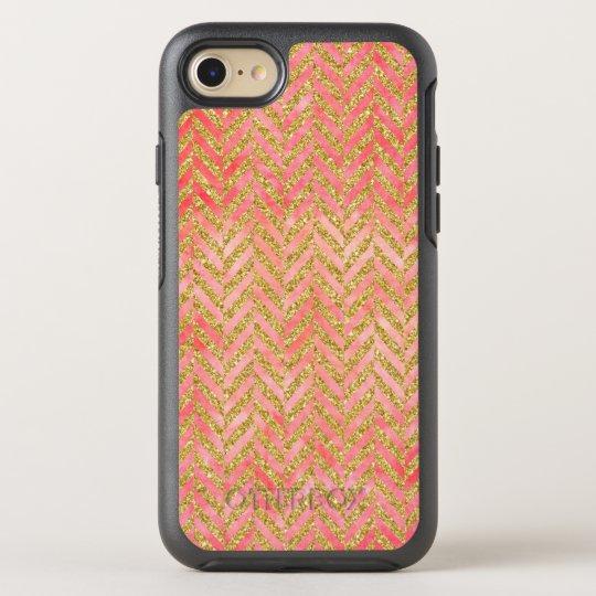 Peach & Gold Glitter Watercolor Herringbone OtterBox Symmetry iPhone 8/7 Case