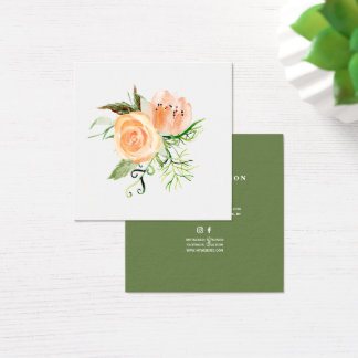 Peach gold green peony bouquet wedding planner square business card