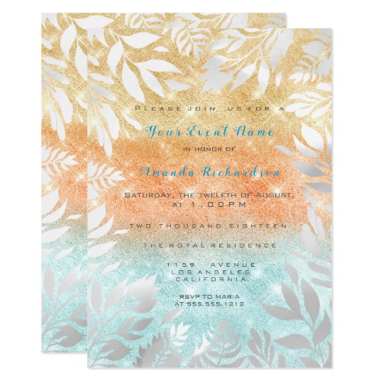 Peach Gold Ocean Glitter Ombre Floral Frame Card