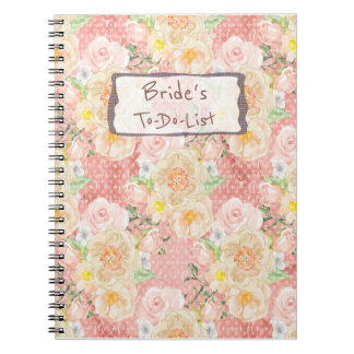 Peach Gold Peony Floral Pattern Bride Note Books