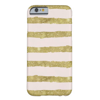 Peach Gold Sparkly Stripes Barely There iPhone 6 Case