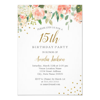 Peach Gold Watercolor Floral 15th Birthday Party Card