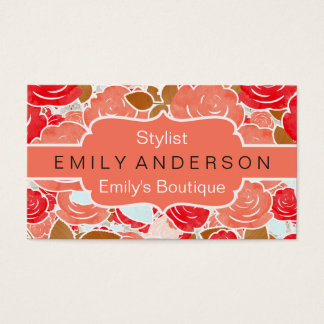 Peach & Gold Watercolor Roses Floral Boutique Business Card