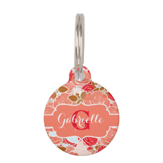 Peach & Gold Watercolor Roses Floral Monogram Pet Name Tag