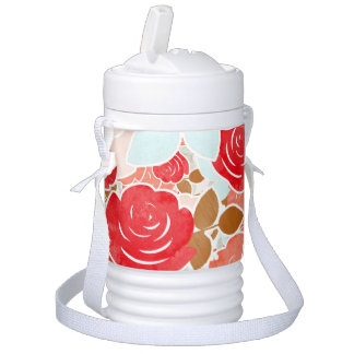 Peach & Gold Watercolor Roses Shabby Floral Drinks Cooler