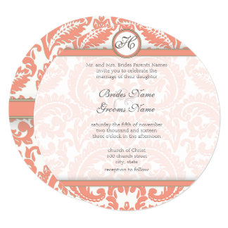 PEACH Gray Victorian Damask  Wedding Invitations