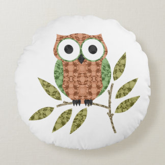 Peach Green Cute Hoot Owl Decorative Throw Pillow Round Cushion