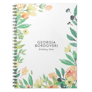 Peach & Green Floral Watercolors Frame Notebook