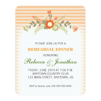Peach & Green Floral Wedding Rehearsal Dinner Card