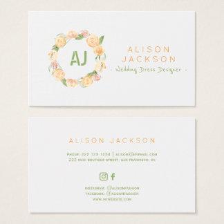 Peach green floral wreath wedding dress designer business card