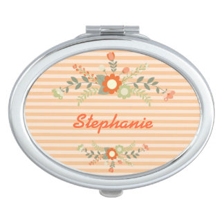 Peach & Green Flowers Personalized Mirrors For Makeup