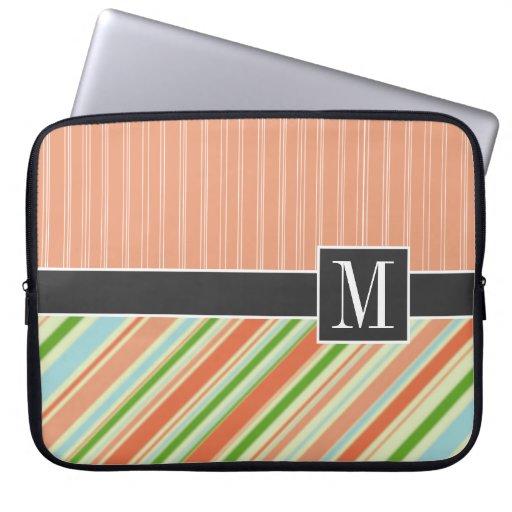 Peach & Green Stripes Computer Sleeves