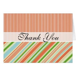 Peach & Green Stripes Note Card