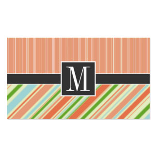 Peach & Green Stripes Pack Of Standard Business Cards