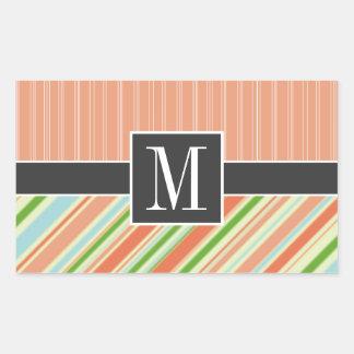 Peach & Green Stripes Rectangular Sticker
