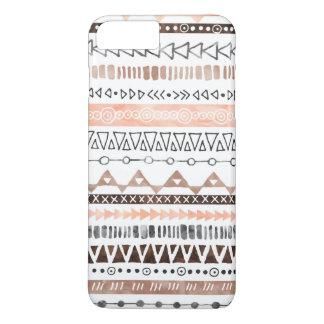 Peach Grey Brown Watercolor Tribal Pattern iPhone 7 Plus Case