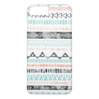 Peach Grey Sky Blue Watercolor Tribal Pattern iPhone 7 Plus Case