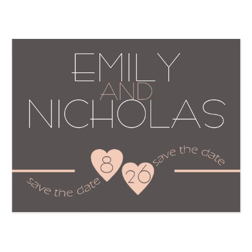 Peach Hearts Save the Date Postcards
