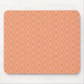 Peach Hexagon Geometric Mouse Pad
