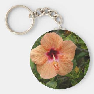 Peach Hibiscus Key Ring