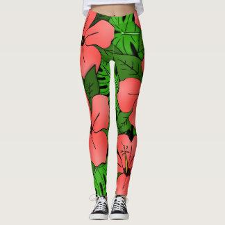 Peach Hibiscus & Monstera Leggings