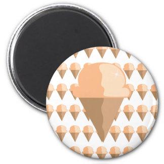 Peach Ice Cream Cone Ice Cream Cone Magnet