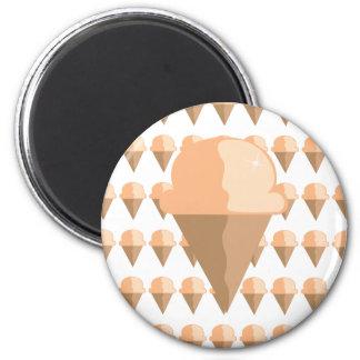 Peach Ice Cream Cone Refrigerator Magnet