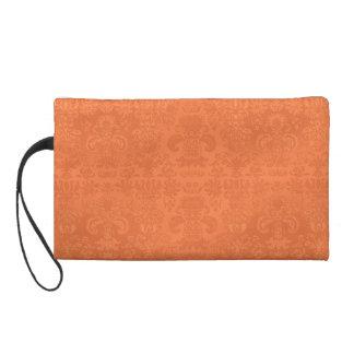 Peach_II-Stylish-Classic(c)-Damask-Sueded_Bag Wristlet