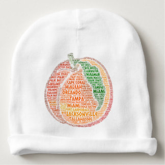 Peach illustrated with cities of Florida State USA Baby Beanie