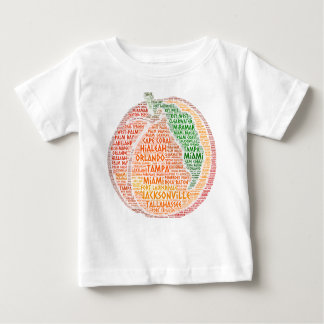 Peach illustrated with cities of Florida State USA Baby T-Shirt