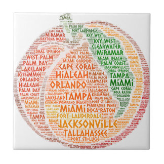 Peach illustrated with cities of Florida State USA Ceramic Tile