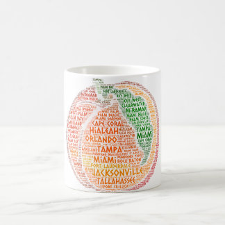 Peach illustrated with cities of Florida State USA Coffee Mug