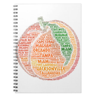 Peach illustrated with cities of Florida State USA Notebook