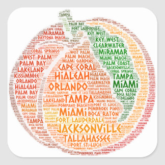 Peach illustrated with cities of Florida State USA Square Sticker