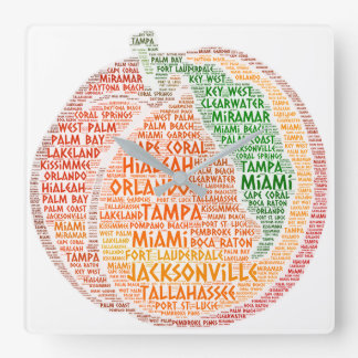Peach illustrated with cities of Florida State USA Square Wall Clock