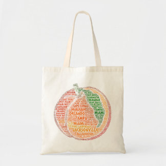 Peach illustrated with cities of Florida State USA Tote Bag