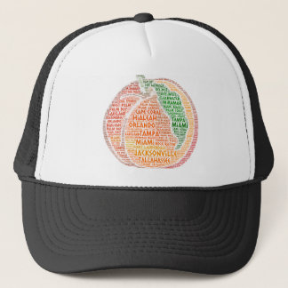 Peach illustrated with cities of Florida State USA Trucker Hat
