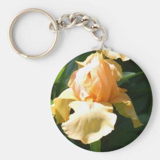 Peach Iris Basic Round Button Key Ring