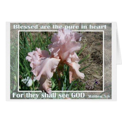 Peach Iris with scripture Matthew 5:8.jpg Greeting Card