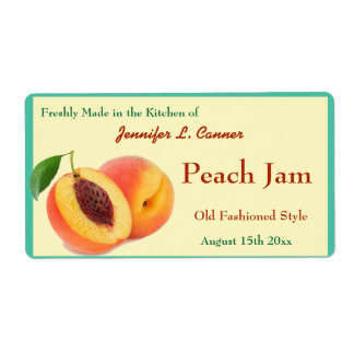 Peach Jam or Preserves Canning Jar Shipping Label