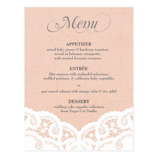 Peach Lace Doily Wedding Menu Post Cards