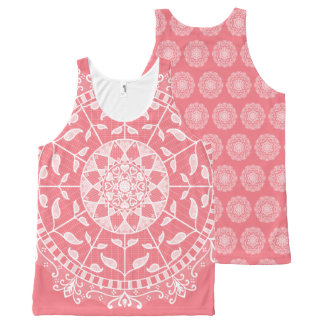 Peach Mandala All-Over Print Singlet